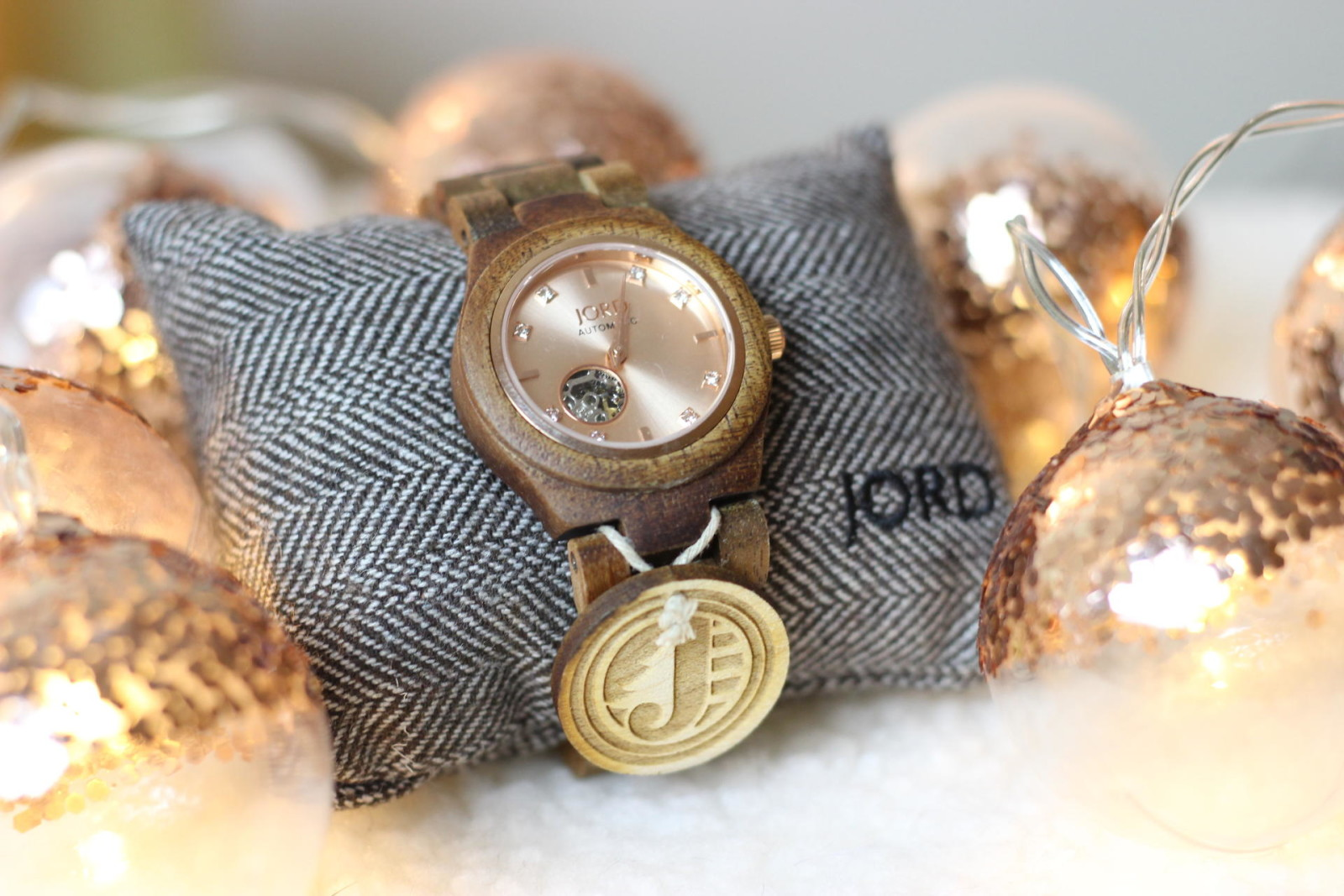 JORD wood watch Cora Koa and Rose Gold