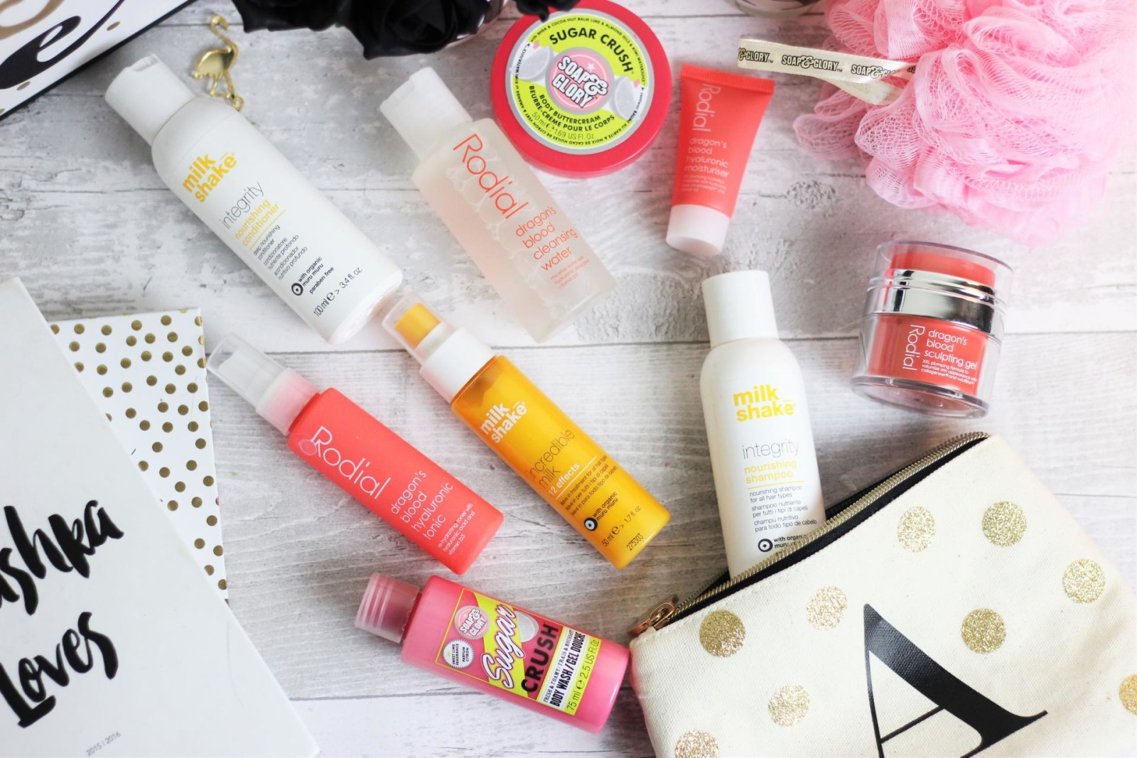 The Weekend Away Toiletry Bag milkshake haircare rodial dragons blood soap and glory sugar crush