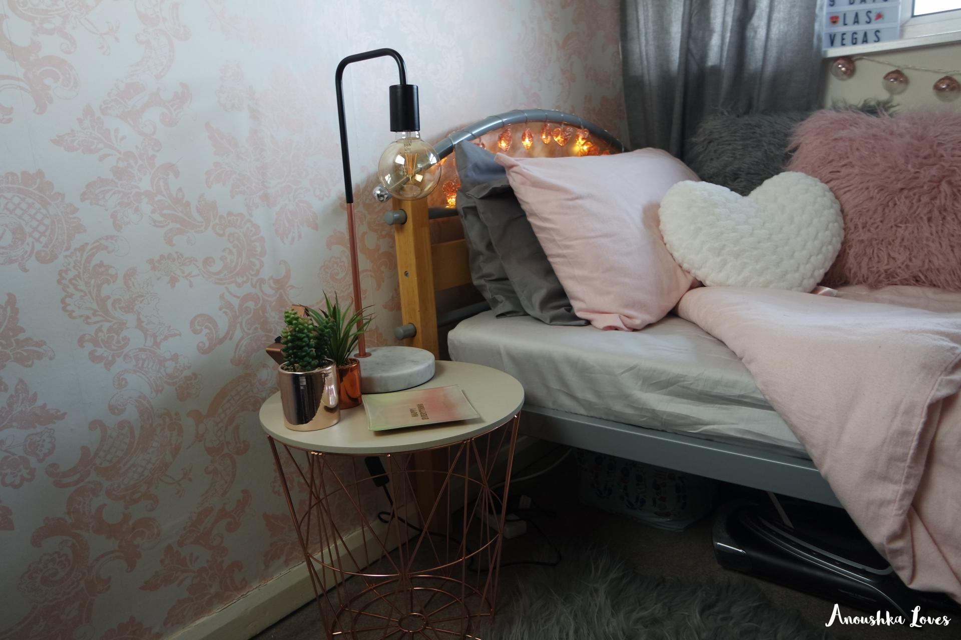 The Bloggers Bedroom Copper Blush Pink Pale Grey