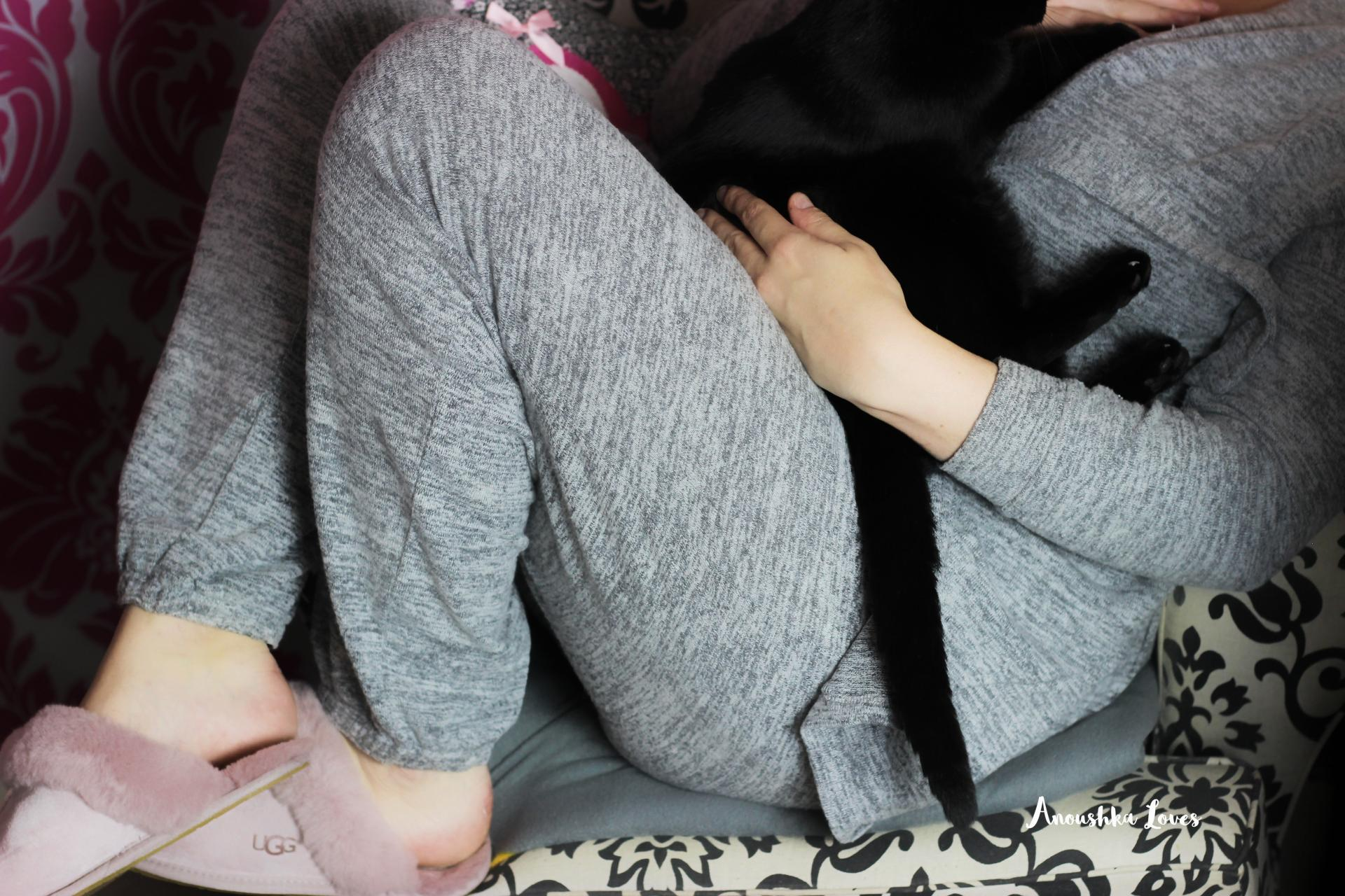 Happiness planner pour moi grey marl loungewear