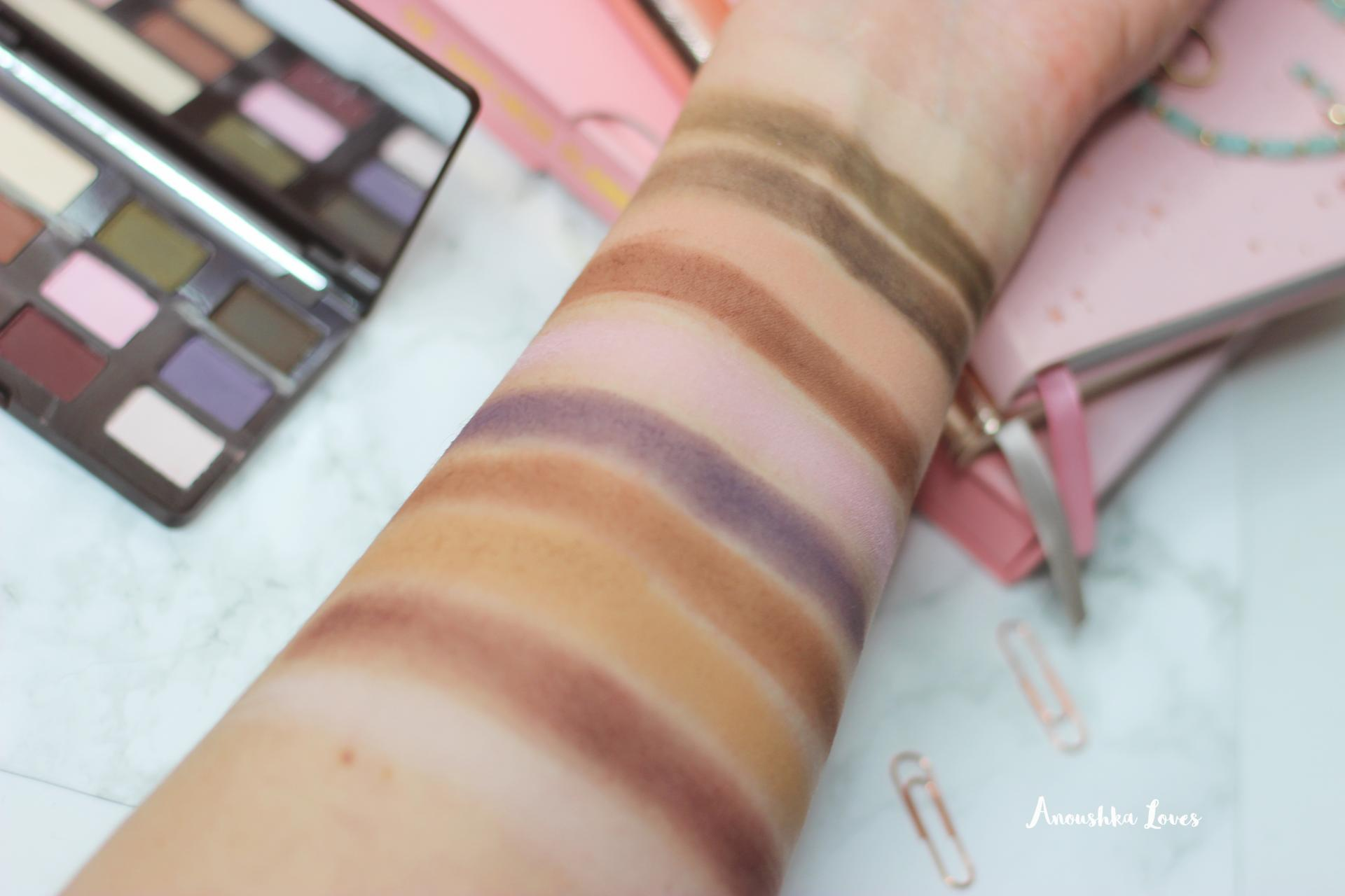 Too Faced Matte Chocolate Chip palette swatches on arm